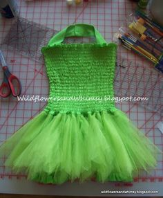 Tinker belle dress win tutorial on adding shorts to skirt and sewing tutu instead of knots