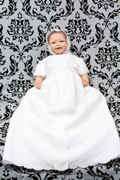 1930s vintage christening gown from linen table cloth