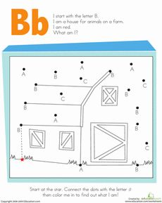 Kindergarten The Alphabet Dot-to-Dots Worksheets: Letter Dot to Dot: B Preschool Workbooks, Preschool Writing, Preschool Kindergarten, Kindergarten Worksheets, Kindergarten Reading, Teaching Letter Recognition, Teaching Letters, Teaching Tools, Alphabet Letter Crafts