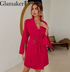Red belt short blazer dress Women Blazer And Shorts, Belted Shorts, Blazer Dress, Red Shorts, Go Red, Red Belt, Short Dresses, Shirts, Women