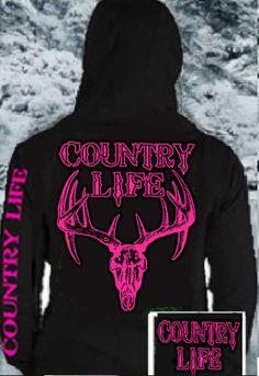 Country Life Black Hoodie Sweatshirt Pink Deer Skull FREE COUNTRY LIFE DECAL