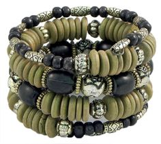 Olive Green, Black and Metal Bead Spring Bracelet (Beads and Metal)