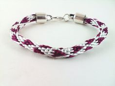 White and Burgundy Satin Kumihimo Bracelet by knottyandnyce, $13.00