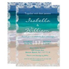 Ocean Beach Summer Wedding Invitation Customizable Invitations #beach #summer #wedding #invitation