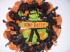 """Buy Halloween """"gone batty"""" deco mesh Wreath in orange, black, and green by jeaniscreativewreath. Explore more products on http://jeaniscreativewreath.etsy.com"""