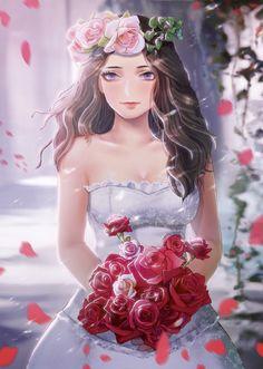 e-shuushuu kawaii and moe anime image board Anime Wedding, Wedding Art, Wedding Looks, Anime Couples Drawings, Anime Couples Manga, Cute Anime Couples, Fantasy Illustration, Cute Illustration, Manga Girl