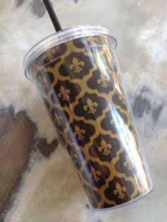Fleurty Girl - Everything New Orleans - Black and Gold Fleur de Lis Tumbler, $16.