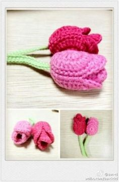 #crochet tulips ♪ ♪ ... #inspiration_crochet #diy GB by isabella.gasparjuit