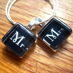 Mr and Mrs Glass Wine Charms - Perfect for the Bride and Groom Toasting Flutes on their Special Day $5.00