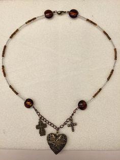 Antique double cross diffuser necklace