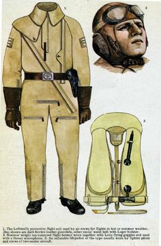 Pin by Paolo Marzioli. Luftwaffe aircrew one-piece flight suit c. 1940. The depicted airman wears the light-brown, thick KW 1/33 winter suit with knee pockets, fur collar, doubl...