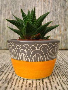 Handmade Ceramic Succulent Pot Planter in Orange and Charcoal Grey by CeriWhiteStudios on Etsy Pottery Mugs, Pottery Ideas, Cactus Pot, Ceramic Plant Pots, Planter Ideas, Pottery Wheel, Sgraffito, Painted Pots, Succulent Pots