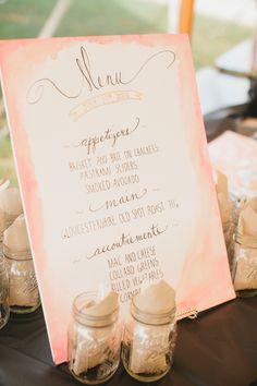 Watercolor Inspired Menu - See more of this #Whimsical Wedding on SMP: http://www.stylemepretty.com/2014/01/31/whimsical-connecticut-beach-wedding/ Photography: Catherine Rhodes