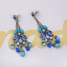 Resin Zinc Alloy Earring with rubber earnut Crystal Resin 316L stainless steel post pin antique silver color plated Bohemian style faceted with rhinestone 30x80mm - Milky Way Jewelry