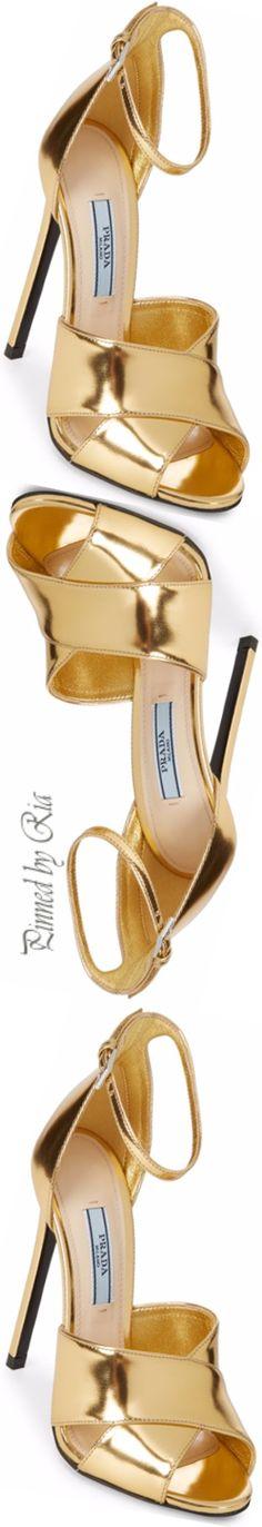 Prada Gold Patent Evening Heels