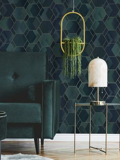 This stylish Asik Geometric wallpaper will make a great statement in your home. The paper has a geometric themed design of overlapping hexagons and parallelograms in rich tones of teal and blue, with a soft metallic silver gold outline. There is a subtle mottled pattern running through it which gives a textured fabric effect although the paper has a smooth matte finish. This high quality wallpaper would look great as a feature wall or equally good when used to decorate a whole room. Feature Wallpaper, Metallic Wallpaper, Luxury Wallpaper, Contemporary Wallpaper, Geometric Wallpaper, Home Wallpaper, Green Room Colors, Green Rooms, Bedroom Color Schemes