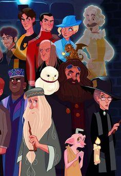 Albus Wulfrick Brian Dumbledore, Minerva Mcgonagal, Rubus Hagrid, Hedwig, Norbert(a), Dobby, Nearly Hedless Nick, (Sir Nickholas de Missy Punpington, Fleur Delacur, Victor Krum, Kinsley Sackelbolt, James P.