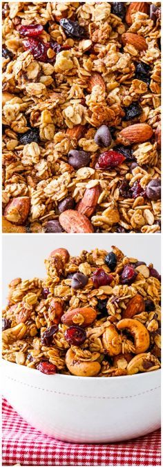 "Sweet, simple, healthy, wholesome, feel-good ""hit the trail"" granola. This crunchy trail mix granola is simple to make and has so much flavor and texture! rezepte selber machen mix mix bar mix bar wedding mix recipes mix recipes for kids Healthy Desayunos, Healthy Snacks, Healthy Eating, Breakfast Recipes, Snack Recipes, Cooking Recipes, Freezer Recipes, Cooking Tips, Granola Breakfast"