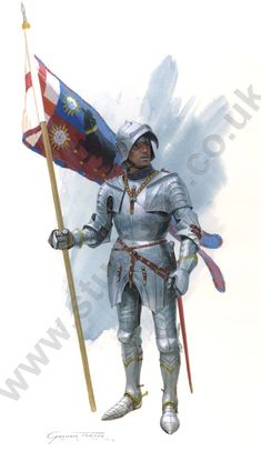 Edward IV's Standard bearer at Towton...After the battle, Edward gave an annuity of £10 to Ralph Vestynden, a yeoman of the King's Chamber, for his good service in bearing the standard of the Black Bull at the battle of Towton in 1461. He is shown wearing English armour based on tomb effigies of the period.