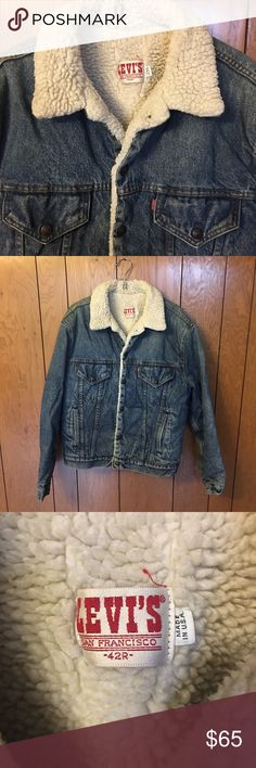Vintage Levi's denim trucker jacket made in USA 42 No visible defects. Well cared for. Vintage Levi's San Francisco sherpa fleece lined trucker jacket made in the USA. Sz 42R Levi's Jackets & Coats