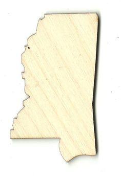Mississippi Unfinished Laser Cut Wood Shape