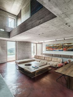 Modern living room with concrete walls