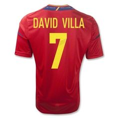 Spain 2011-2013 DAVID VILLA Home Soccer Jersey