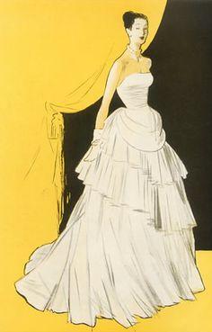 Fashion Illustration by René Gruau, 1946, Jeanne Lafaurie evening gown.