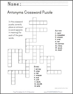 Antonyms Crossword Puzzle Free To Print PDF File