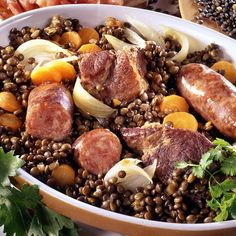 Salty with Puy lentils and Montbéliard sausages - - Dinner Recipes For Kids, Healthy Dinner Recipes, Cooking Recipes, Lentils And Sausage, Salty Foods, Fast Food, Savoury Dishes, No Cook Meals, Coco