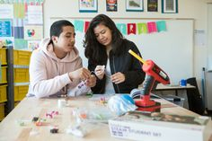 Who says a library is only for reading? At Capital City Public Charter School in Washington, DC, the school library has been transformed into a #makerspace. High schoolers work together to assemble a circuit kit.  Photo by Allison Shelley/The Verbatim Agency for American Education: Images of Teachers and Students in Action