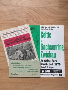 2 PROGRAMME + TICKET EC II 17/03/76 SACHSENRING ZWICKAU V CELTIC GLASGOW