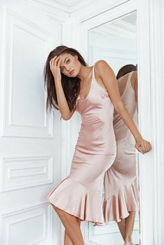 Blush pink silk dress