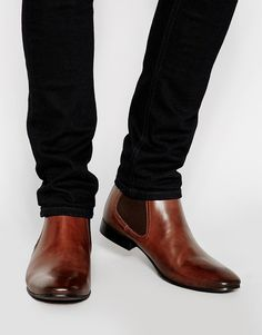 $81, Brown Leather Chelsea Boots: Asos Brand Chelsea Boots In Leather. Sold by Asos. Click for more info: http://lookastic.com/men/shop_items/234735/redirect