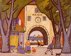 """LOUIS MATHIEU VERDILHAN (French, 1875-1928) - """"Mairie sur la côte"""""""