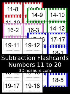 Free Subtraction Flash Cards - 5 colors options: white, red, pink, green and…