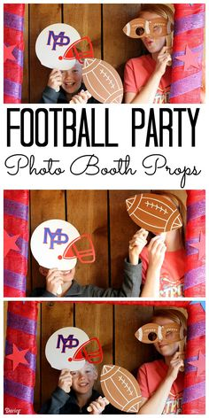Make these football party photo booth props in just minutes! Add some fun to any football party with a photo booth! Football Crafts, Football Themes, Football Banquet, Kids Football, Chalkboard Party, Sports Party, Cheer Party, Photo Booth Props, Photo Booths