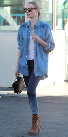 Kate Bosworth goes casual in denim-on-denim and studded suede boots