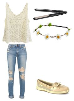 """""""Queen of the flowers"""" by sidras ❤ liked on Polyvore featuring Sperry Top-Sider, BaByliss, Summer and sidrascollections"""