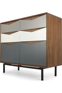 Louis Wide Chest Of Drawers, Walnut and Charcoal Grey Chest Of Drawers, Chest Of Drawers Design, Bedroom Chest Of Drawers, Cabinet Furniture, Painted Furniture, Furniture Design, Furniture Ideas, Oak Table And Chairs, Diy Furniture Building