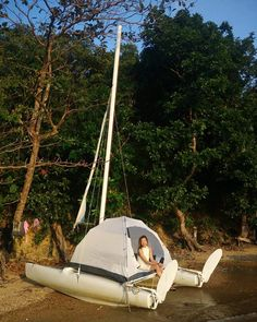 Sail all day, explore white sand beach far from the crown, try fishing, . Sailing Trips, Sailing Boat, Rando, Dinghy, Palawan, Small Boats, White Sand Beach, Catamaran, Sun Lounger