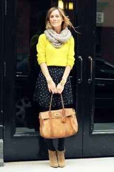 yellow shirt + polka dot skirt = Love!