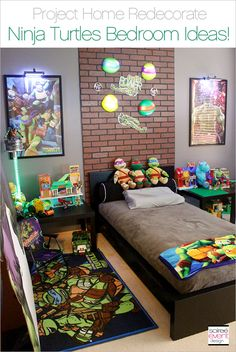 Are you looking for Ninja Turtles Bedroom Ideas? Well, this post is for you featuring a DIY Ninja Turtles headboard and LED Mutagen Tubes! Ninja Turtle Room, Ninja Turtles, Toddler Boy Room Decor, Boys Room Decor, Cozy Bedroom, Kids Bedroom, Bedroom Stuff, Paw Patrol Bedroom Decor, Bedroom Themes