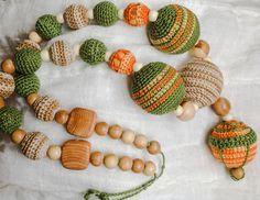 Купить Слингобусы Тепло - слингобусы, мамабусы, вязанные бусы, вязанные украшения, деревянные бусы