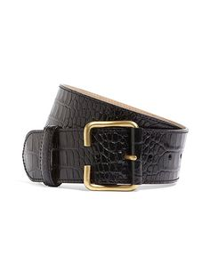 "My kingdom for a belt, seriously.   2"" Crocodile-Embossed Calfskin Belt Black"