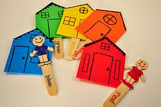 Coloring Matching Game.  Whose house?