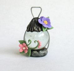 Miniature Fairy Lantern with Flowers OOAK by C. Rohal. $21.50, via Etsy.
