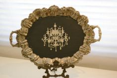 painted silver trays | Silver plated serving tray painted and hand by PapillonVintageHome, $ ...