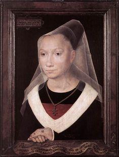 Hans Memling - Portrait of a Young Woman 1480 Oil on oak panel, 38 x 26,5 cm Memlingmuseum, Sint-Janshospitaal, Bruges