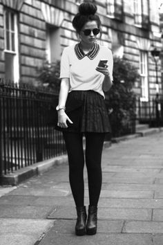 skater skirt and top knot